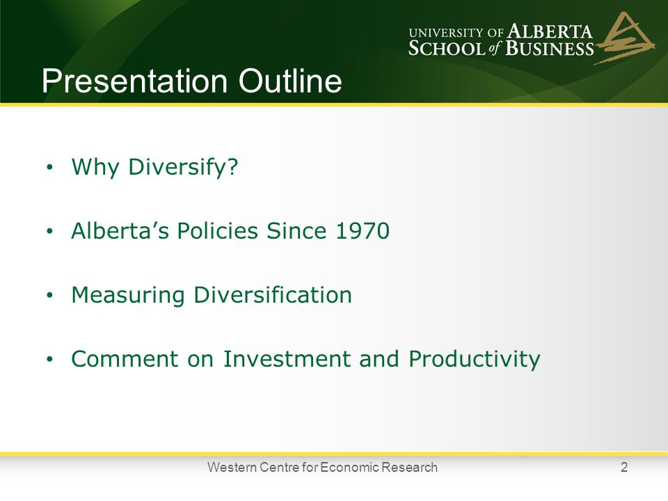 Presentation Outline Why Diversify.