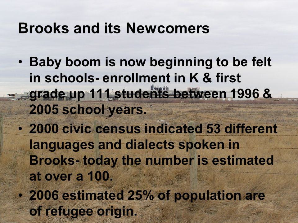 Brooks and its Newcomers Baby boom is now beginning to be felt in schools- enrollment in K & first grade up 111 students between 1996 & 2005 school ye