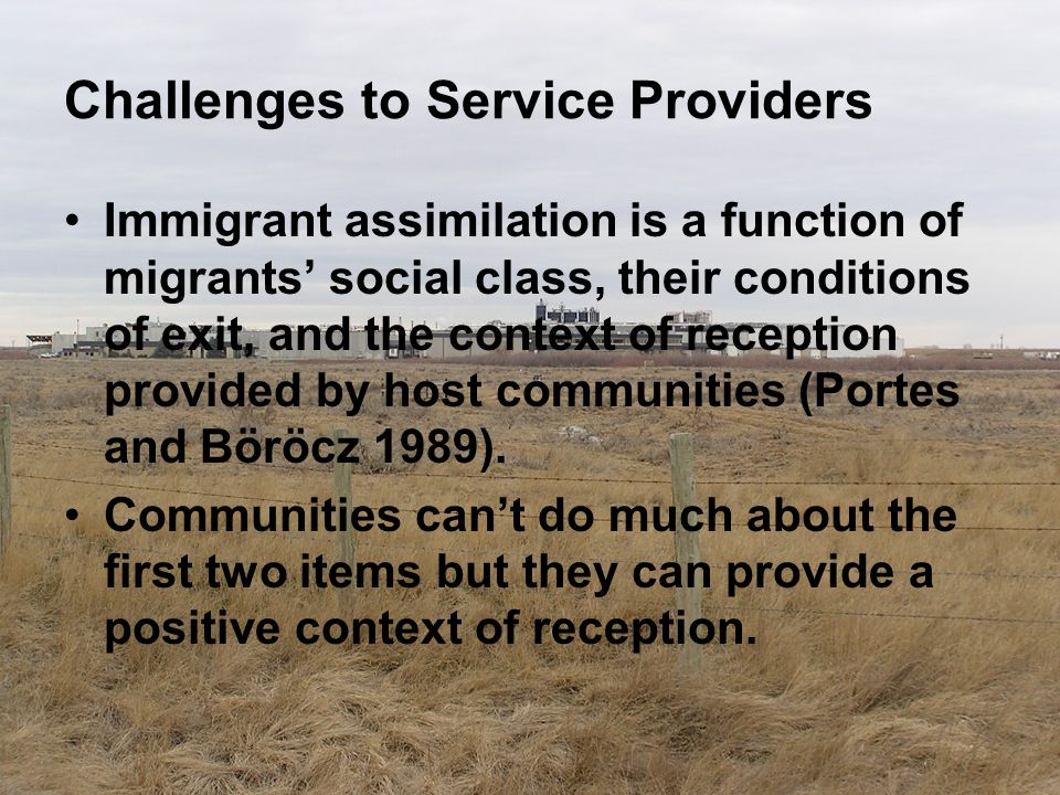Challenges to Service Providers Immigrant assimilation is a function of migrants' social class, their conditions of exit, and the context of reception
