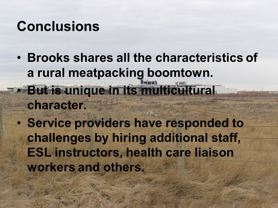Conclusions Brooks shares all the characteristics of a rural meatpacking boomtown. But is unique in its multicultural character. Service providers hav