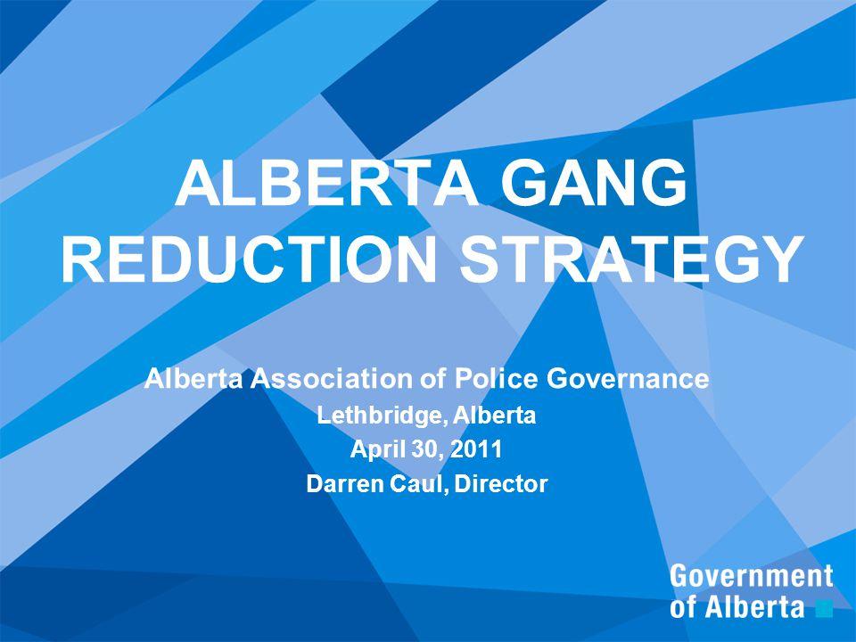 ALBERTA GANG REDUCTION STRATEGY Alberta Association of Police Governance Lethbridge, Alberta April 30, 2011 Darren Caul, Director