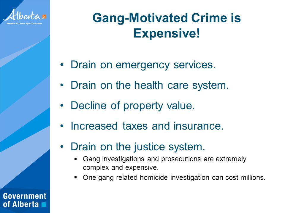 Gang-Motivated Crime is Expensive. Drain on emergency services.