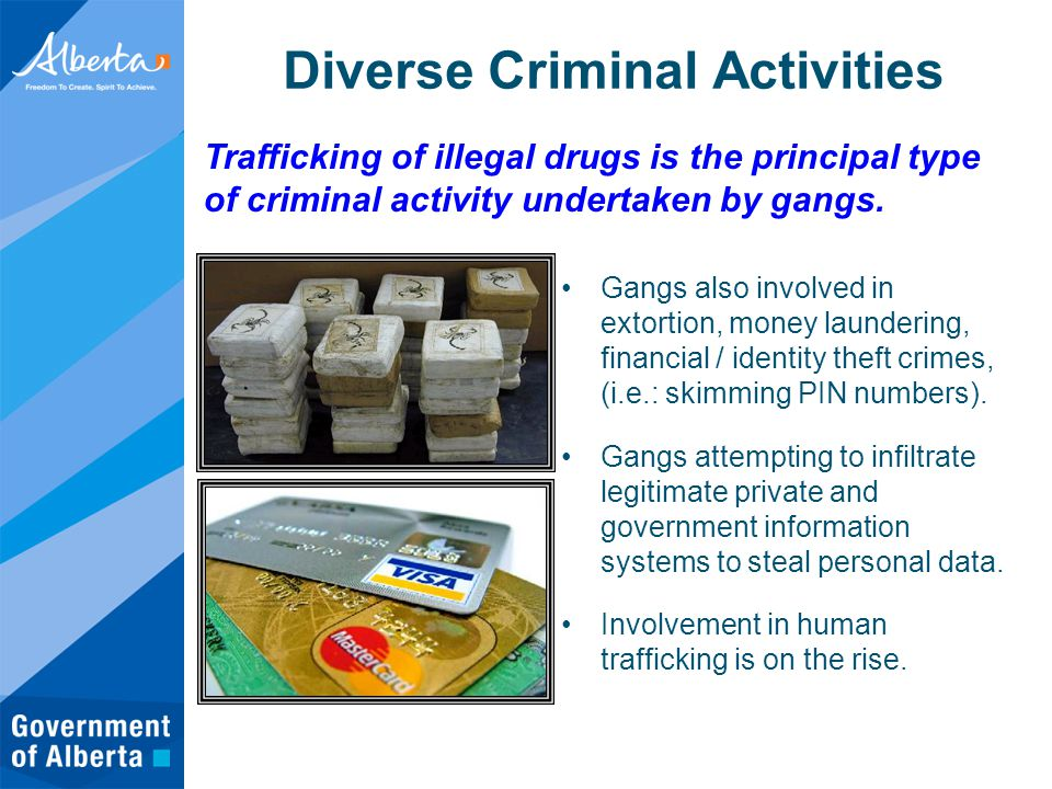Gangs also involved in extortion, money laundering, financial / identity theft crimes, (i.e.: skimming PIN numbers).