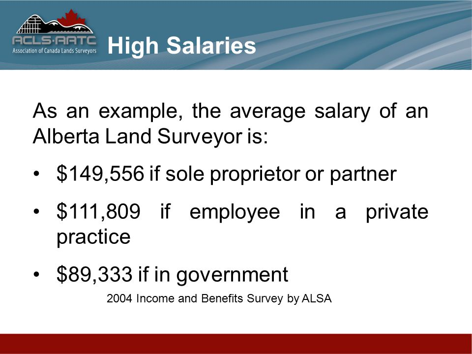 As an example, the average salary of an Alberta Land Surveyor is: $149,556 if sole proprietor or partner $111,809 if employee in a private practice $89,333 if in government 2004 Income and Benefits Survey by ALSA High Salaries