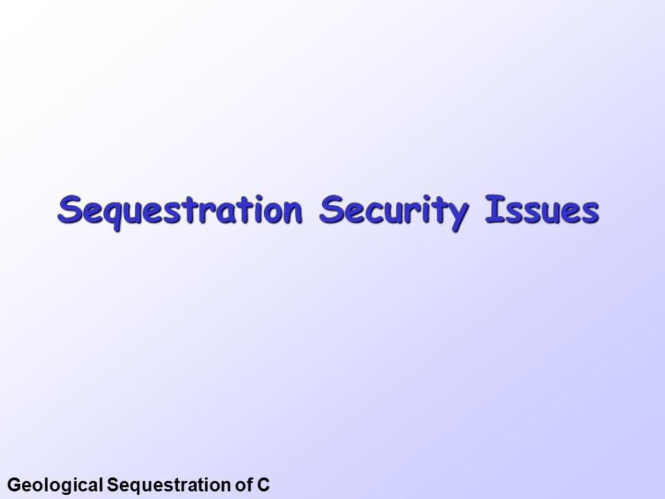 Geological Sequestration of C Sequestration Security Issues