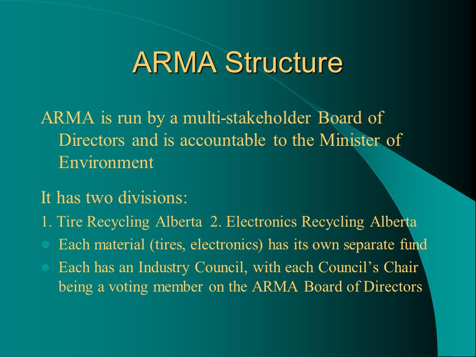 ARMA Structure ARMA is run by a multi-stakeholder Board of Directors and is accountable to the Minister of Environment It has two divisions: 1.