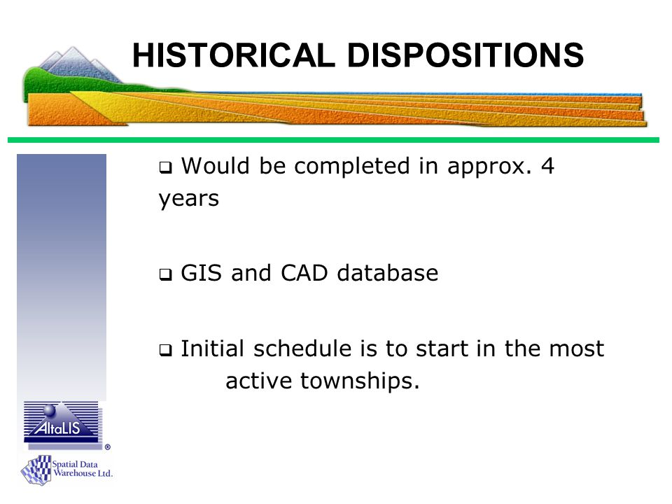 HISTORICAL DISPOSITIONS  Would be completed in approx.