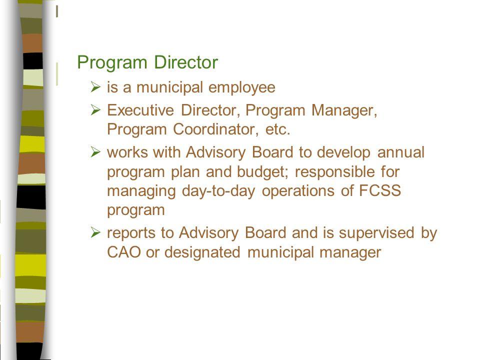 Program Director  is a municipal employee  Executive Director, Program Manager, Program Coordinator, etc.