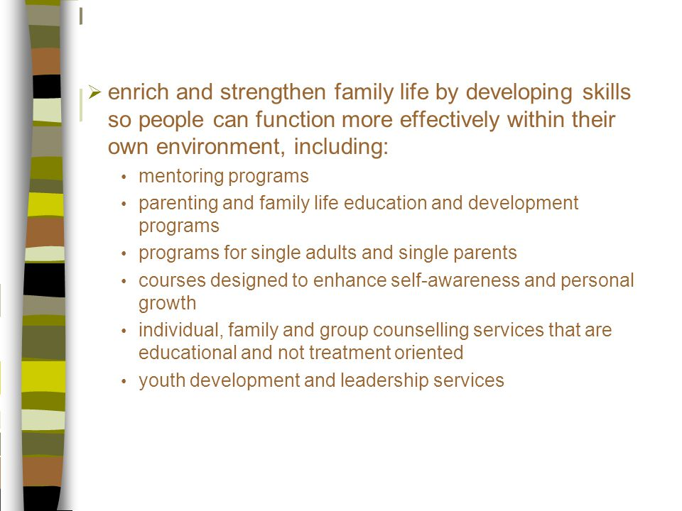  enrich and strengthen family life by developing skills so people can function more effectively within their own environment, including: mentoring programs parenting and family life education and development programs programs for single adults and single parents courses designed to enhance self-awareness and personal growth individual, family and group counselling services that are educational and not treatment oriented youth development and leadership services