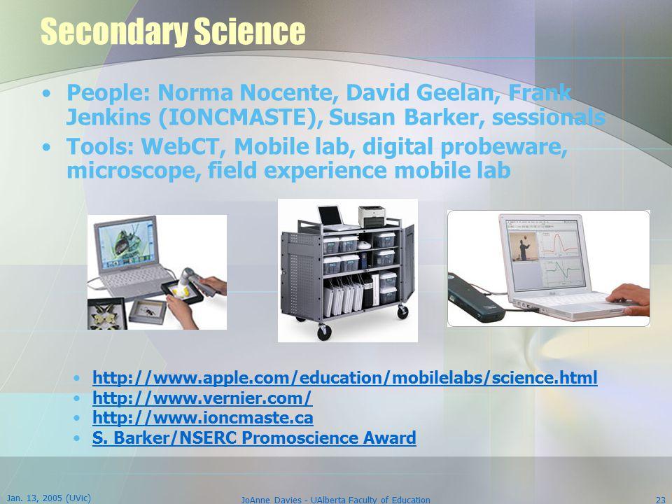 Jan. 13, 2005 (UVic) JoAnne Davies - UAlberta Faculty of Education23 Secondary Science People: Norma Nocente, David Geelan, Frank Jenkins (IONCMASTE),