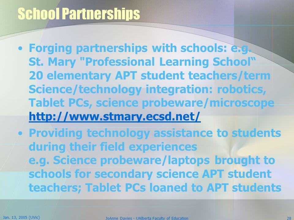 Jan. 13, 2005 (UVic) JoAnne Davies - UAlberta Faculty of Education28 School Partnerships Forging partnerships with schools: e.g. St. Mary