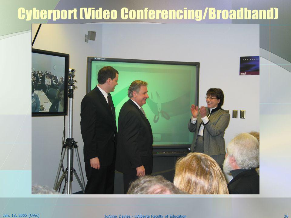 Jan. 13, 2005 (UVic) JoAnne Davies - UAlberta Faculty of Education36 Cyberport (Video Conferencing/Broadband)