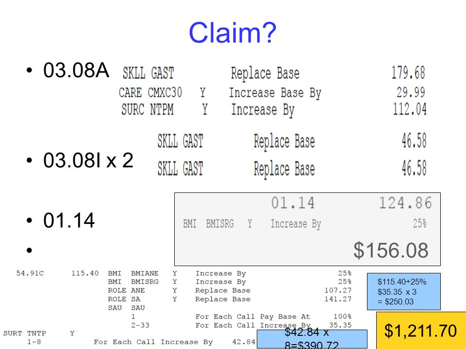 03.08A 03.08I x 2 01.14 $156.08 Claim.