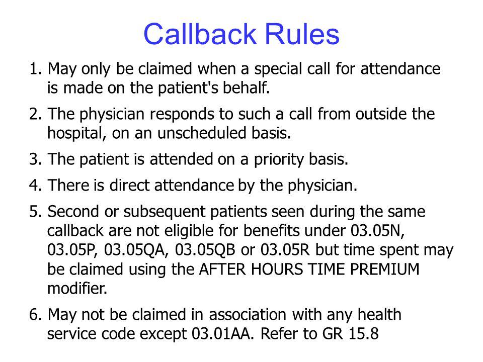 Callback Rules 1.