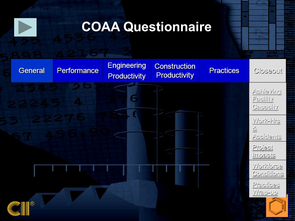 ® GeneralPerformanceEngineeringProductivity Construction Productivity PracticesCloseout Achieving Facility Capacity Work-Hrs & Accidents Project Impacts Workforce Conditions Practices Wrap-up COAA Questionnaire