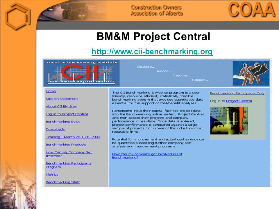 BM&M Project Central http://www.cii-benchmarking.org