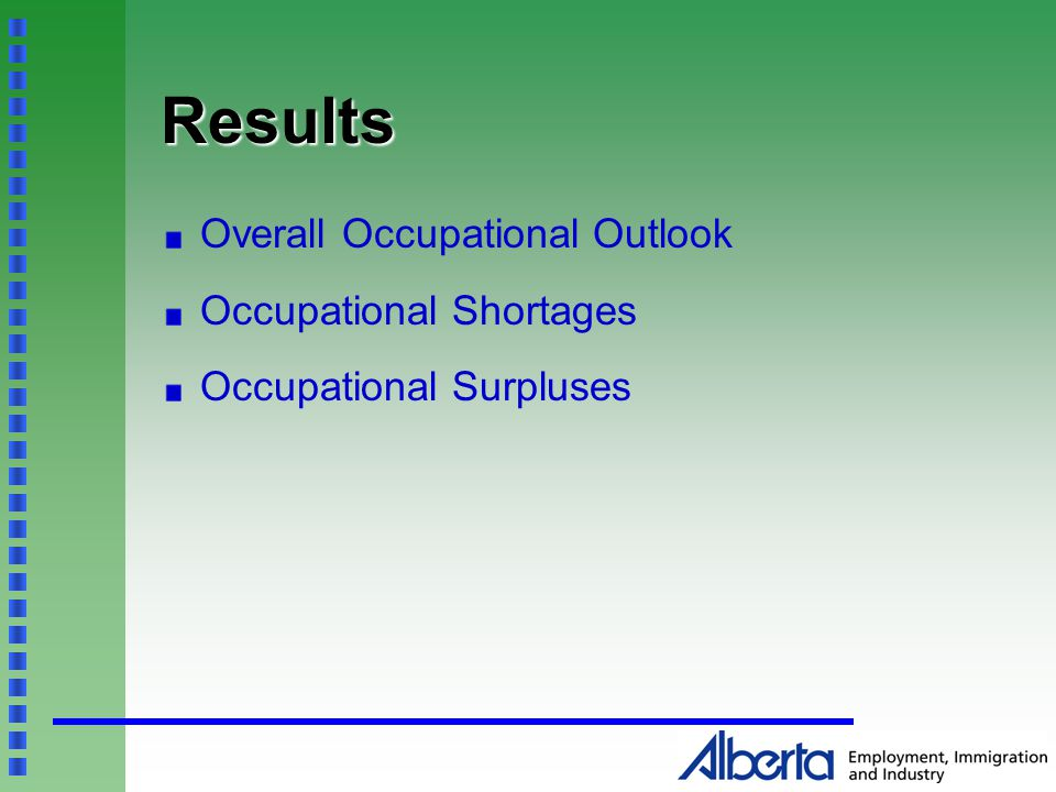 Results Overall Occupational Outlook Occupational Shortages Occupational Surpluses