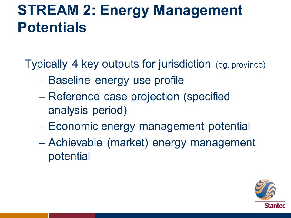 STREAM 2: Energy Management Potentials Typically 4 key outputs for jurisdiction (eg. province) –Baseline energy use profile –Reference case projection