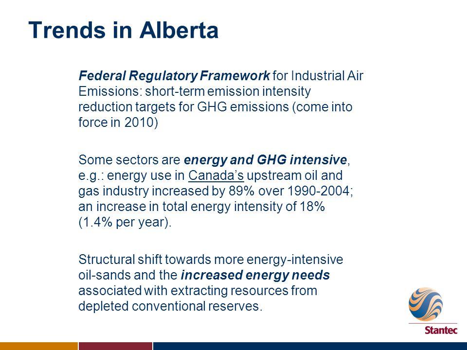 Trends in Alberta Federal Regulatory Framework for Industrial Air Emissions: short-term emission intensity reduction targets for GHG emissions (come i