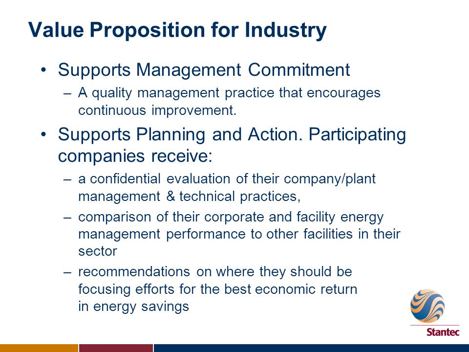 Value Proposition for Industry Supports Management Commitment –A quality management practice that encourages continuous improvement. Supports Planning