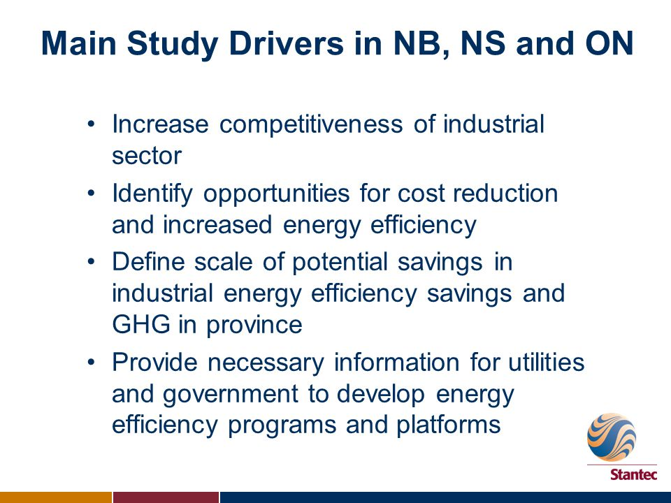 Main Study Drivers in NB, NS and ON Increase competitiveness of industrial sector Identify opportunities for cost reduction and increased energy efficiency Define scale of potential savings in industrial energy efficiency savings and GHG in province Provide necessary information for utilities and government to develop energy efficiency programs and platforms