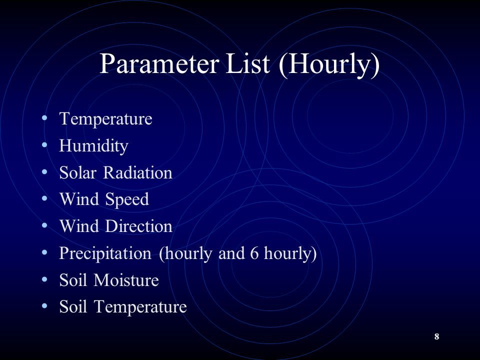 8 Parameter List (Hourly) Temperature Humidity Solar Radiation Wind Speed Wind Direction Precipitation (hourly and 6 hourly) Soil Moisture Soil Temperature