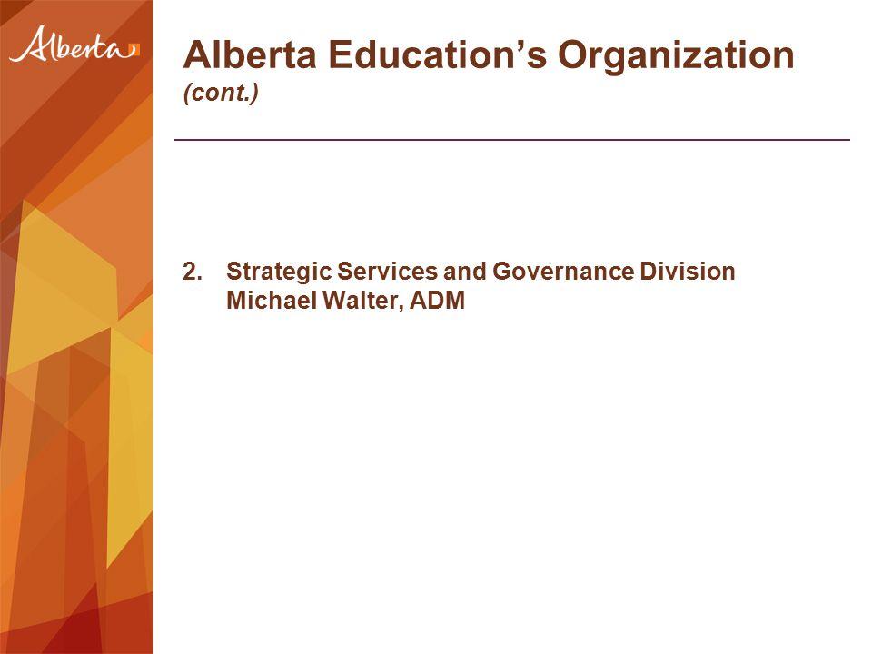 Alberta Education's Organization (cont.) 2.Strategic Services and Governance Division Michael Walter, ADM