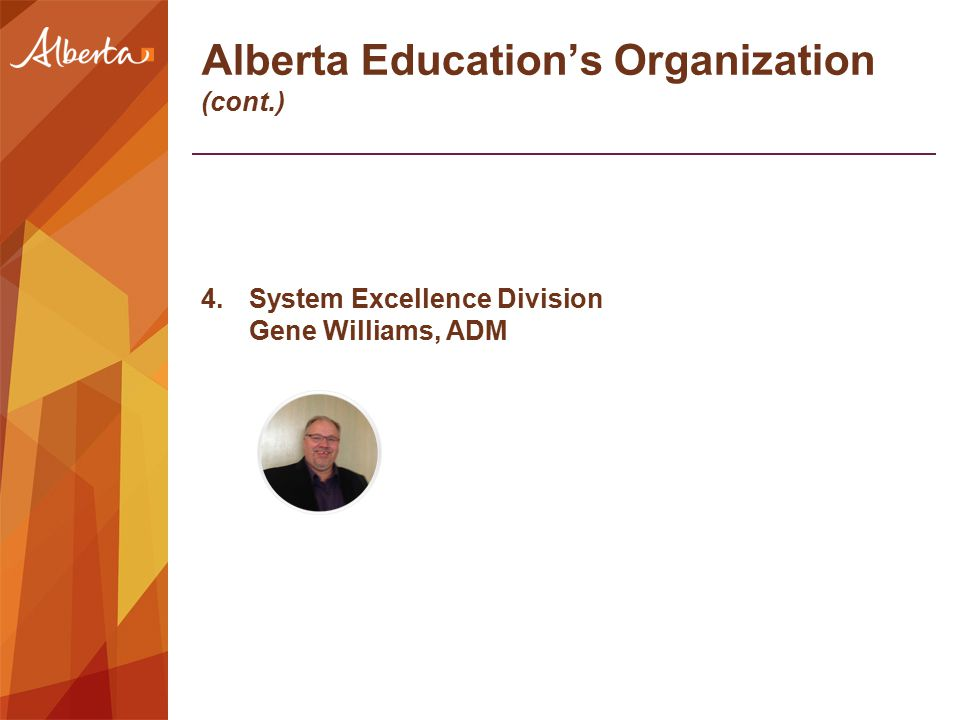 Alberta Education's Organization (cont.) 4.System Excellence Division Gene Williams, ADM