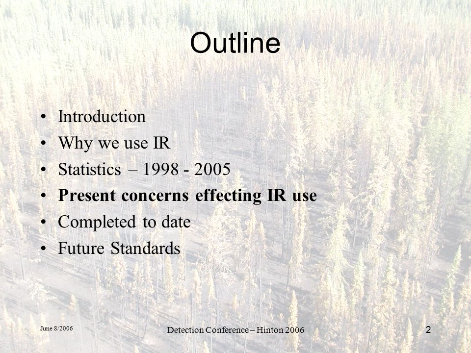 June 8/2006 Detection Conference – Hinton 200623 Future Standards Format of Delivered Data Shapefile –Geographic(lat-long) or degree decimal degrees –NAD83 datum –Include - *.dbf, *.shp, *.shx, *.prj files