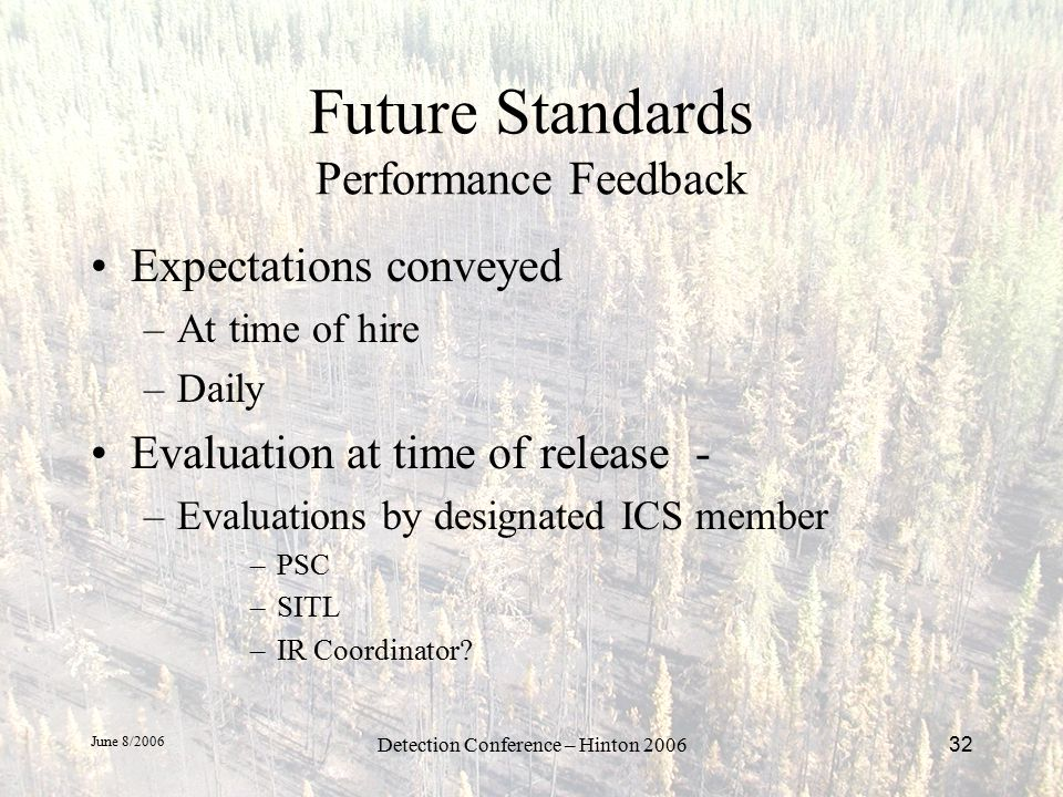 June 8/2006 Detection Conference – Hinton 200632 Future Standards Performance Feedback Expectations conveyed –At time of hire –Daily Evaluation at time of release - –Evaluations by designated ICS member –PSC –SITL –IR Coordinator