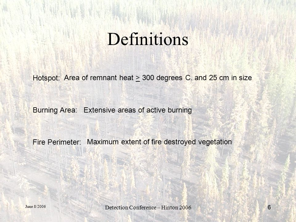 June 8/2006 Detection Conference – Hinton 20067 EXAMPLES: Hot Spots Fire Perimeter Active Burning Area