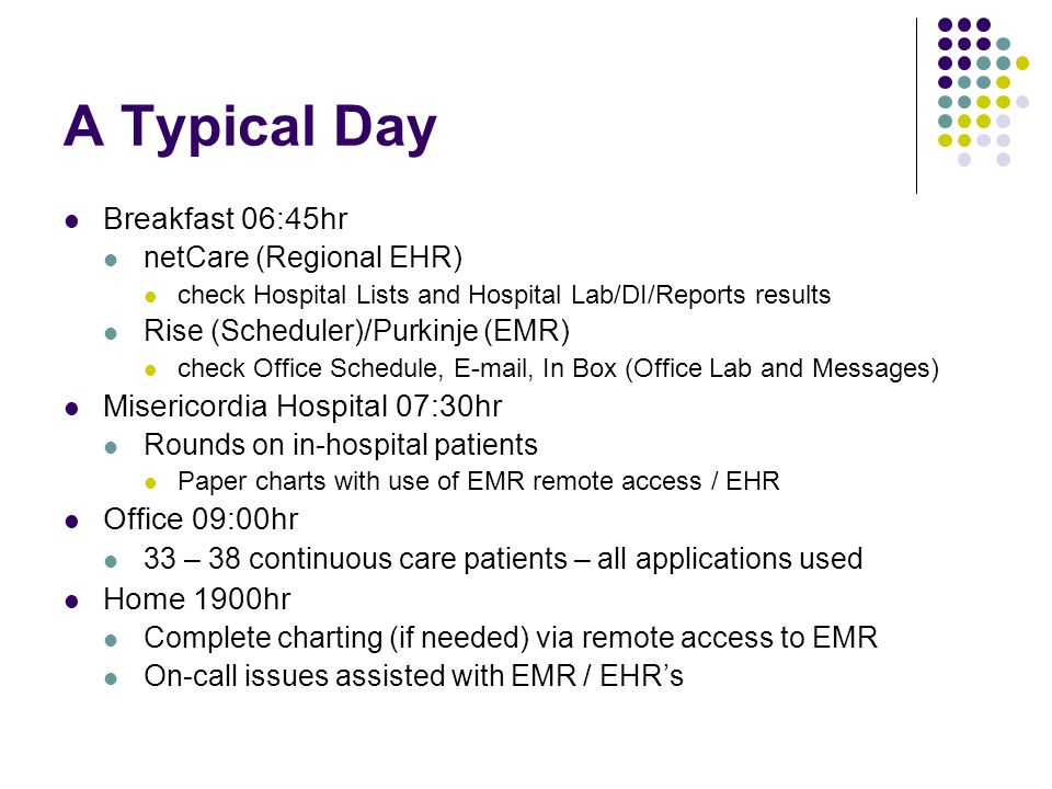 A Typical Day Breakfast 06:45hr netCare (Regional EHR) check Hospital Lists and Hospital Lab/DI/Reports results Rise (Scheduler)/Purkinje (EMR) check Office Schedule, E-mail, In Box (Office Lab and Messages) Misericordia Hospital 07:30hr Rounds on in-hospital patients Paper charts with use of EMR remote access / EHR Office 09:00hr 33 – 38 continuous care patients – all applications used Home 1900hr Complete charting (if needed) via remote access to EMR On-call issues assisted with EMR / EHR's
