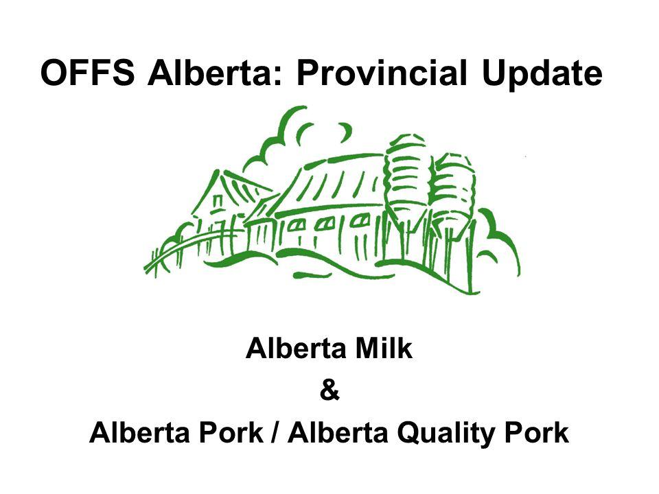 OFFS Alberta: Provincial Update Alberta Milk & Alberta Pork / Alberta Quality Pork