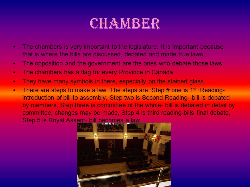 Chamber The chambers is very important to the legislature.
