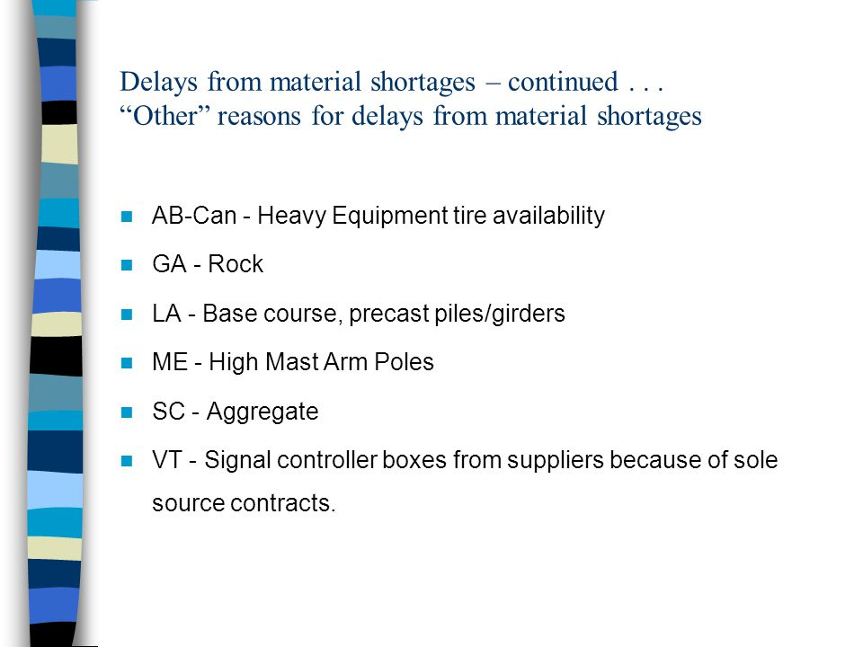 Delays from material shortages – continued...