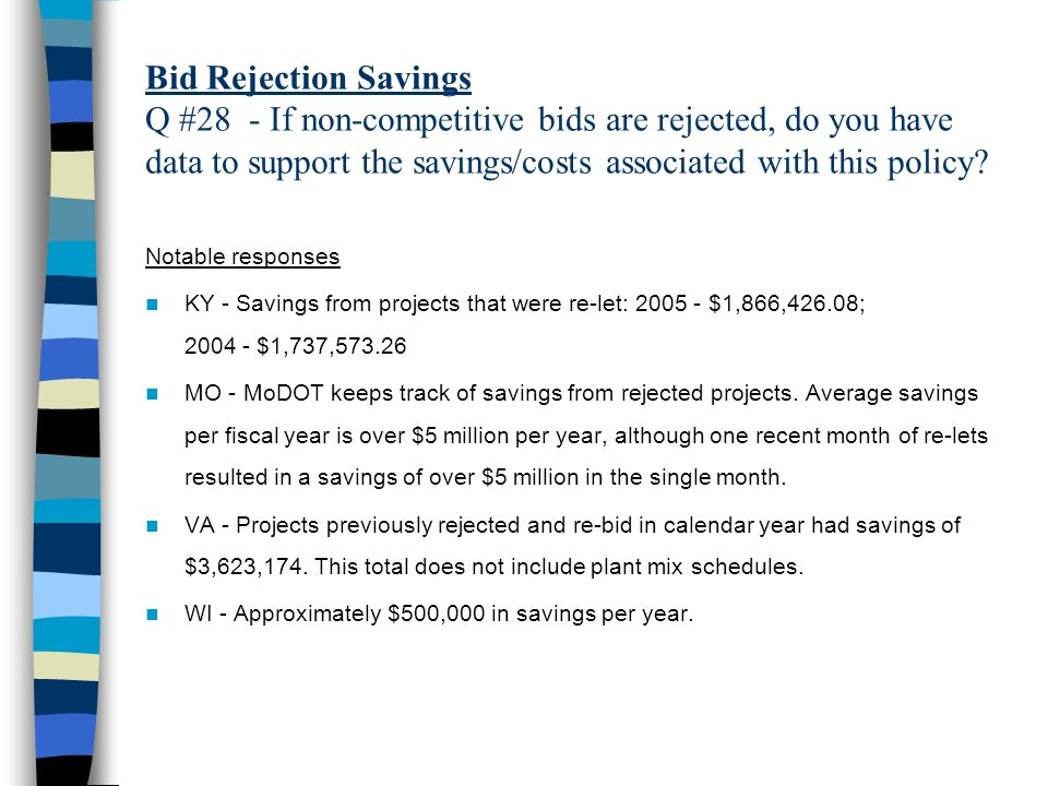 Bid Rejection Savings Q #28 - If non-competitive bids are rejected, do you have data to support the savings/costs associated with this policy.