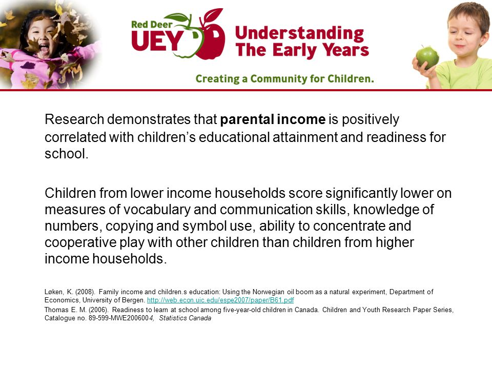 Research demonstrates that parental income is positively correlated with children's educational attainment and readiness for school. Children from low
