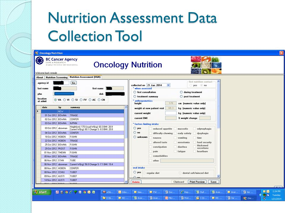Nutrition Assessment Data Collection Tool