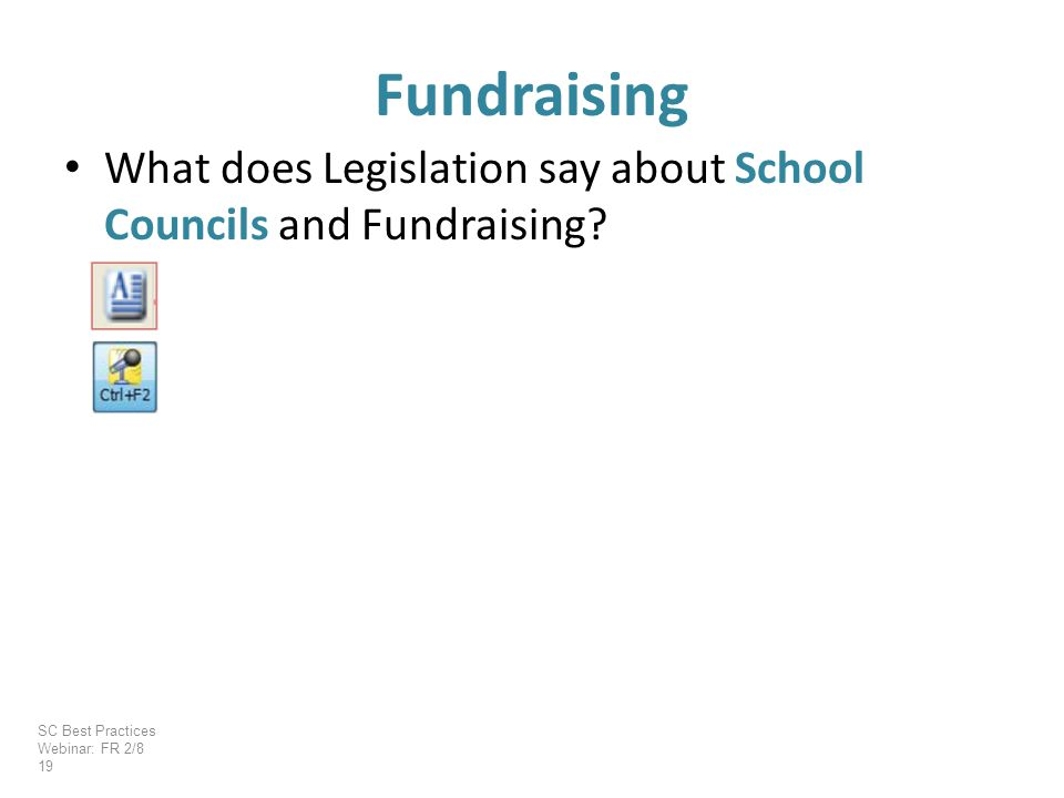 What does Legislation say about School Councils and Fundraising.