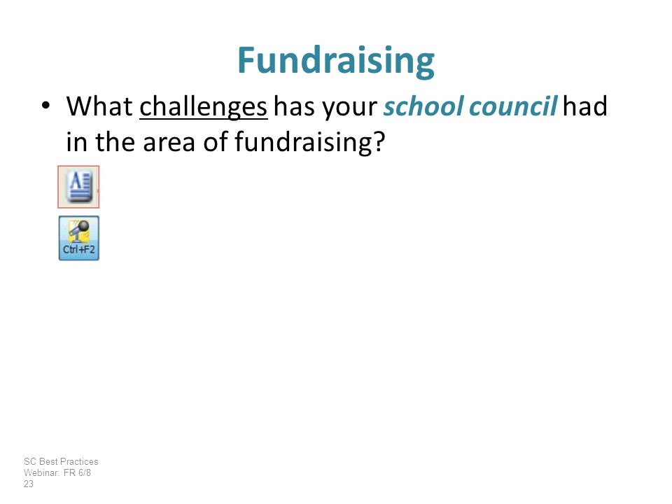 What challenges has your school council had in the area of fundraising.