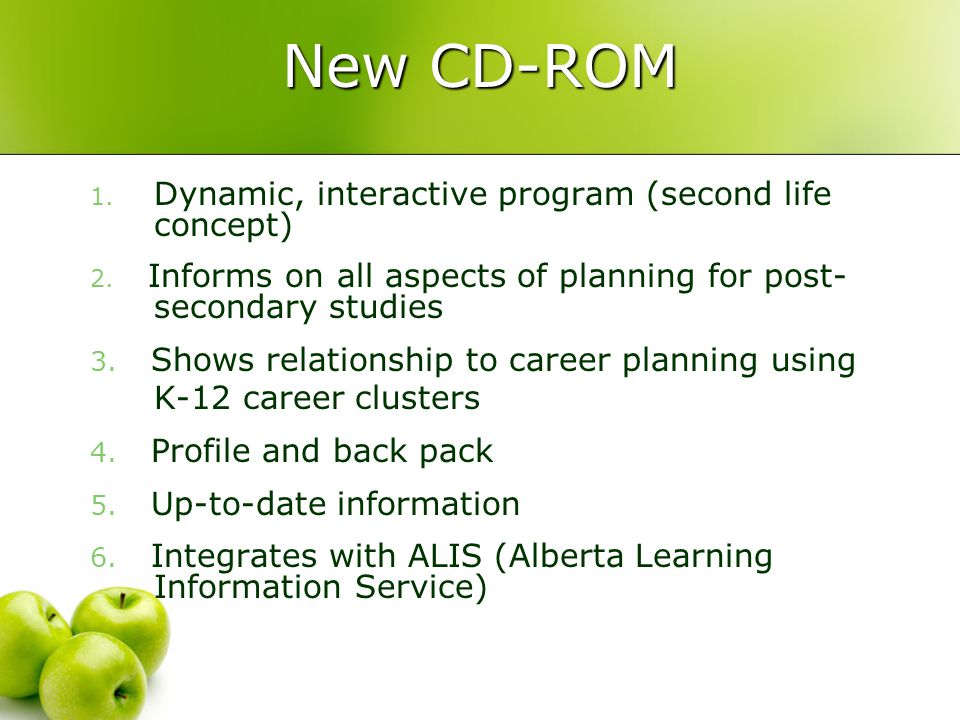 Learning Clicks Components: Learning Clicks CD-ROM Learning Clicks Website: learningclicks.ca Youth Ambassadors This Is Your Life: A Career and Education Planning Guide Educator's Companion to This Is Your Life Booklet Parent Ambassadors Pouch of Resources: Adult Back to School Workbook, Career Coaching Your Teens, Time to Choose, ACEs brochure (RESPs) etc.