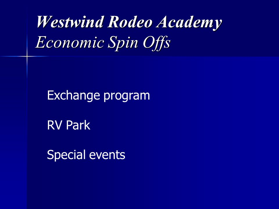 Westwind Rodeo Academy Economic Spin Offs Exchange program RV Park Special events