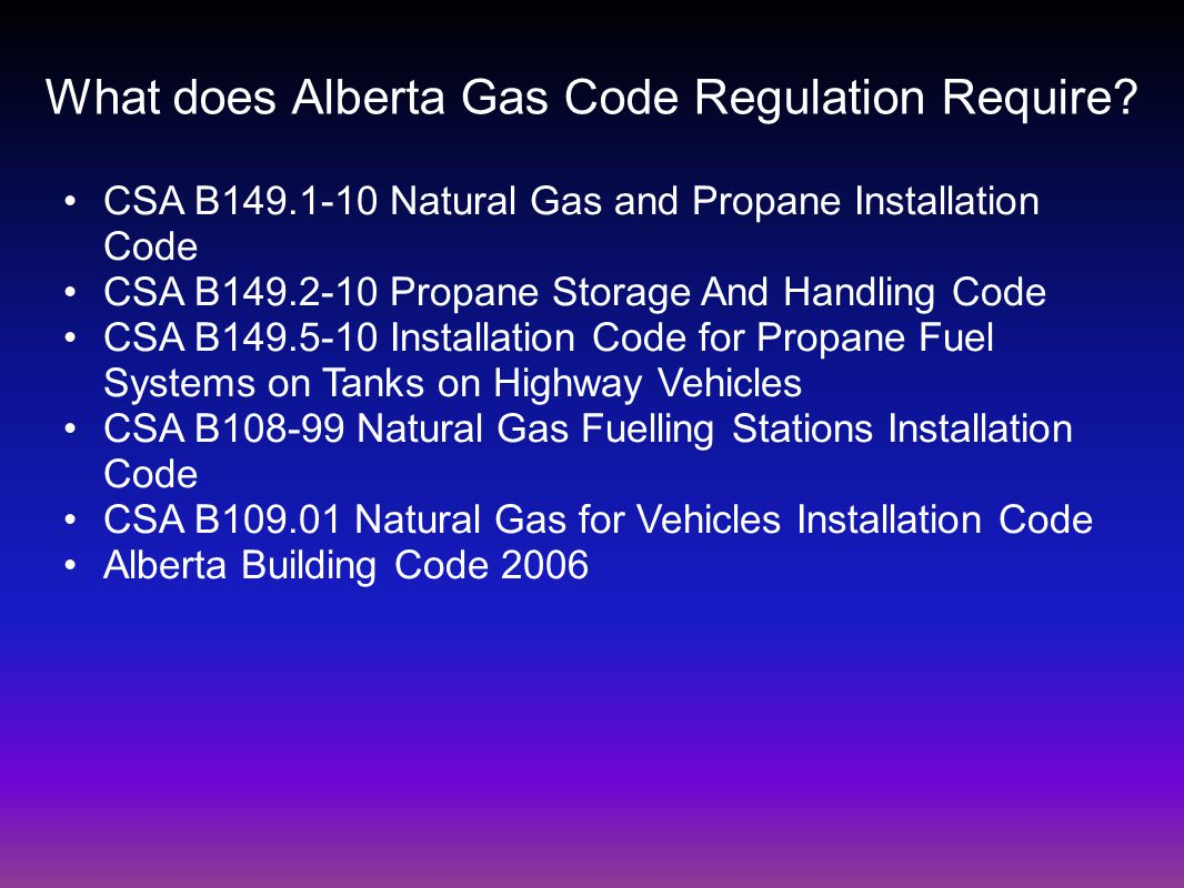 What does Alberta Gas Code Regulation Require.