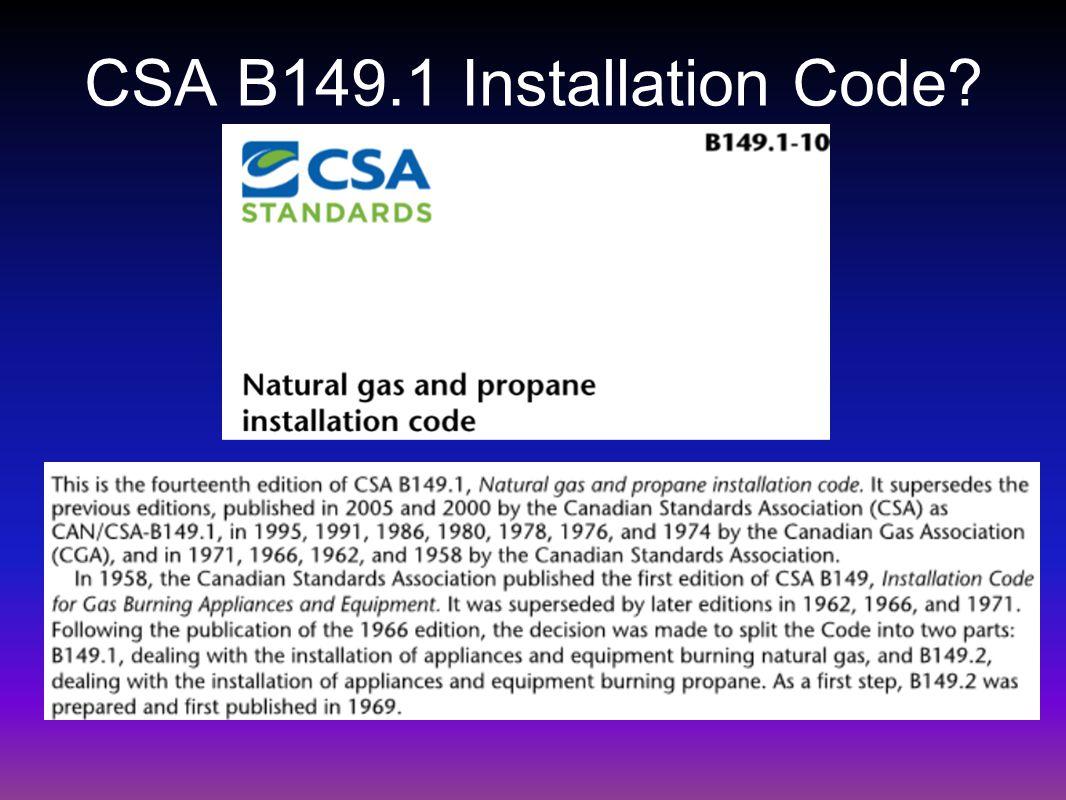 CSA B149.1 Installation Code