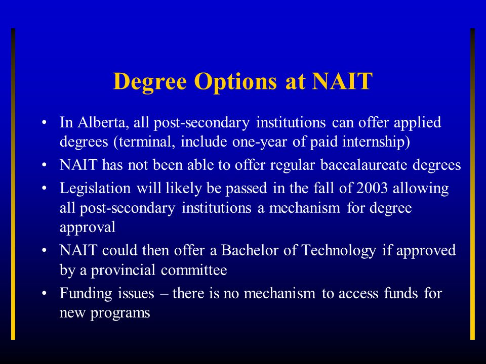 Current Articulation Options at NAIT Athabasca University (Post-Diploma B.Sc.