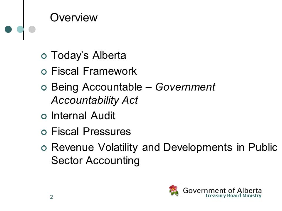 Treasury Board Ministry 2 Overview Today's Alberta Fiscal Framework Being Accountable – Government Accountability Act Internal Audit Fiscal Pressures Revenue Volatility and Developments in Public Sector Accounting