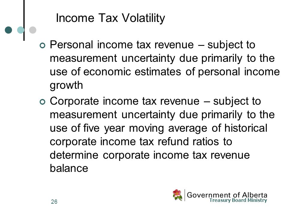 Treasury Board Ministry 26 Income Tax Volatility Personal income tax revenue – subject to measurement uncertainty due primarily to the use of economic estimates of personal income growth Corporate income tax revenue – subject to measurement uncertainty due primarily to the use of five year moving average of historical corporate income tax refund ratios to determine corporate income tax revenue balance