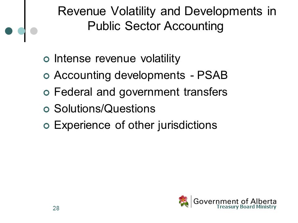 Treasury Board Ministry 28 Revenue Volatility and Developments in Public Sector Accounting Intense revenue volatility Accounting developments - PSAB Federal and government transfers Solutions/Questions Experience of other jurisdictions