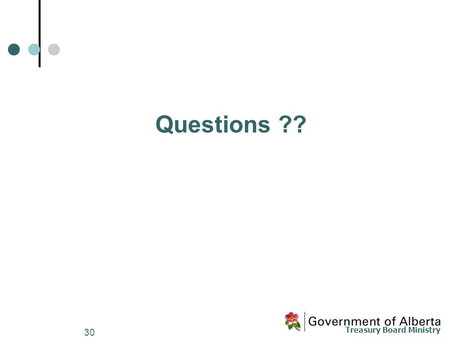 Treasury Board Ministry 30 Questions ??