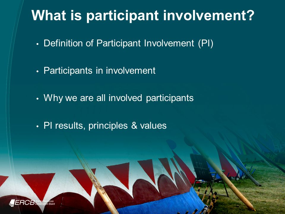 What is participant involvement.